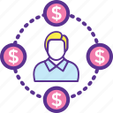 business circle, businessman, entrepreneur, financial network, investor icon