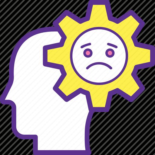 Brain breakage, depression, failure mark, mental downfall, system error icon - Download on Iconfinder