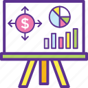 business graph, business presentation, chart, data analytics, statistical presentation icon
