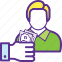 earnings, employee wages, income, perks, salary icon