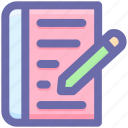 document, file, page, pen, pencil, sheet, text icon
