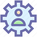 cog, gear, network, online, user, work icon
