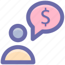 adviser, banking, dollar, man, message, person icon