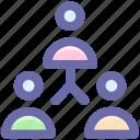 hierarchy, leader, men, social, staff, team, users icon