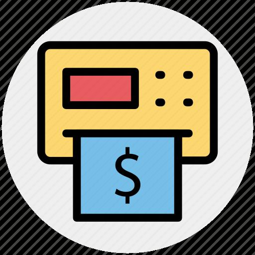 atm, atm machine, cash, dollar, machine, money, withdrawal icon