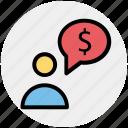 adviser, banking, dollar, man, message, person