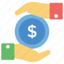business safety, business security, dollar in hands, financial saving, money protection icon