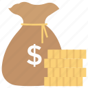 dollar bag, dollar sack, donation, finance, investment, savings icon