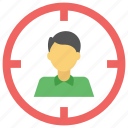 business goal, business target, focal user, target market, target user icon