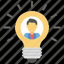 creative person, creative thinking, idea man, intelligent man, man inside bulb icon