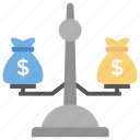 balance scale, business equity, business scale, dollar scale, justice icon
