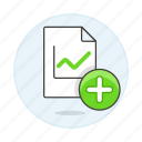 add, analytics, business, chart, file icon