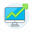 analytics, arrow, business, green, imac, increasing, mac, pc, up icon