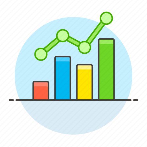 analytics, bar, business, chart, graph, green, increasing, line, up icon