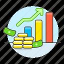 bar, business, chart, economic, graph, growth, metaphors, money icon