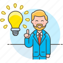 aha, boss, brainstorm, brilliant, business, idea, ideas, lightbulb, man, solution, startup icon
