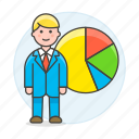 analytics, business, businessman, chart, economic, graph, man, pie, statistic icon