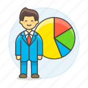 1, analytics, business, businessman, chart, economic, graph, man, pie, statistic icon