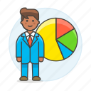 2, analytics, business, businessman, chart, economic, graph, man, pie, statistic icon