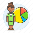1, analytics, business, businessman, chart, economic, graph, pie, statistic, woman icon