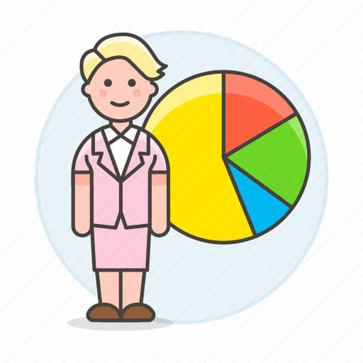 2, analytics, business, businessman, chart, economic, graph, pie, statistic, woman icon