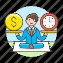 achievement, balance, business, efficiency, efficient, man, productivity, sit, strategy icon