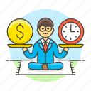 1, achievement, balance, business, efficiency, efficient, man, productivity, sit, strategy icon