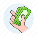 business, cash, dollars, hand, metaphors, money, ready icon