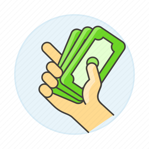 1, business, cash, dollars, hand, metaphors, money, ready icon