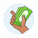 2, business, cash, dollars, hand, metaphors, money, ready icon