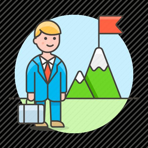 business, businessman, challenge, journey, man, mountain, peak, pursuit, startup, strategy, undertake icon