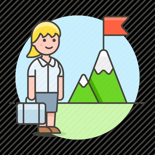 business, businessman, challenge, journey, mountain, peak, pursuit, startup, strategy, undertake, woman icon