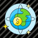 business, circulation, currency, globe, metaphors, money, world icon