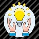 building, business, creativity, hand, idea, ideas, light, lightbulb, solution icon