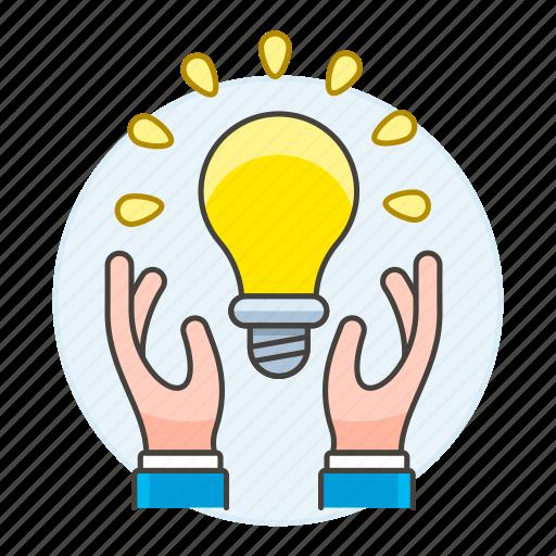 1, building, business, creativity, hand, idea, ideas, light, lightbulb, solution icon