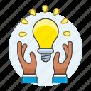 creativity, business, light, hand, idea, building, lightbulb, solution, ideas icon