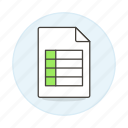 business, data, entry, excel, invoice, registry, spreadsheet, table icon
