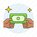 business, cash, contracts, currency, deals, exchange, money, payment, receive, transfer icon
