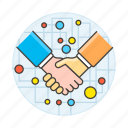 agreement, associate, business, contracts, corporate, deals, digital, handshake, network, sign icon