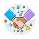 1, agreement, associate, business, contracts, corporate, deals, digital, handshake, network, sign icon