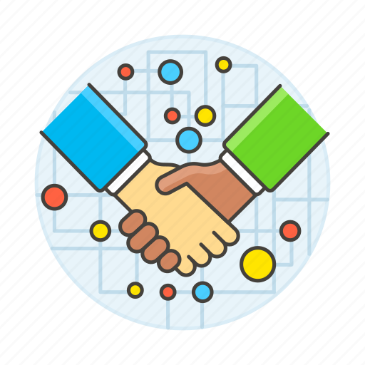 2, agreement, associate, business, contracts, corporate, deals, digital, handshake, network, sign icon