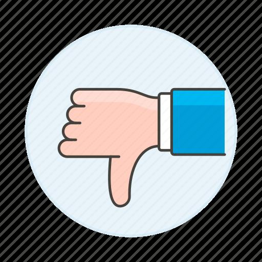 ban, business, decline, denial, disagree, dislike, dissent, down, failures, no, thumb icon