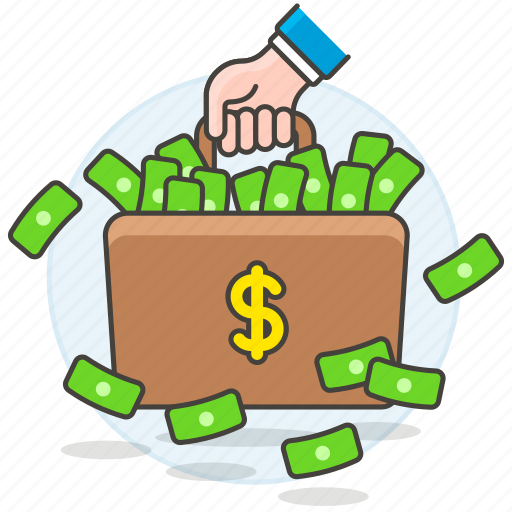 banknote, briefcase, business, cash, dollar, luggage, metaphors, money icon
