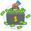 luggage, money, briefcase, banknote, dollar, cash, business, metaphors icon