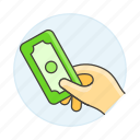 3, business, cash, contracts, deals, dollar, hand, hold, money, payment icon