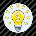 brilliant, business, dollar, idea, lightbulb, metaphors, millionaire, money, sign icon