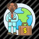 briefcase, business, cash, global, international, man, money, people, trip, world icon