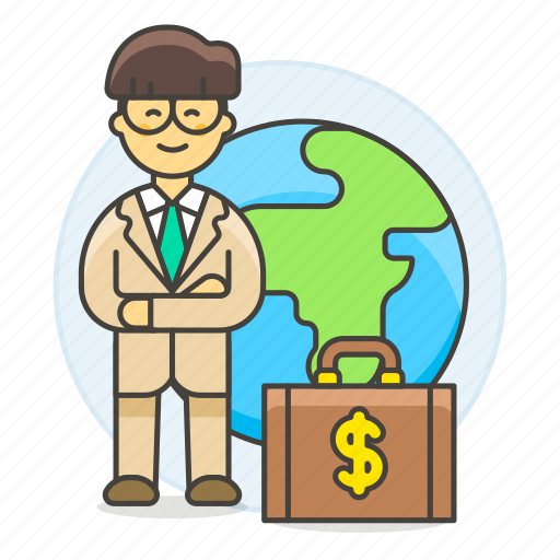 2, briefcase, business, cash, global, international, man, money, people, trip, world icon