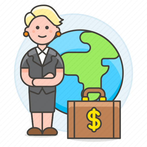 1, briefcase, business, cash, global, international, money, people, trip, woman, world icon