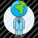 1, business, global, head, man, people, world icon